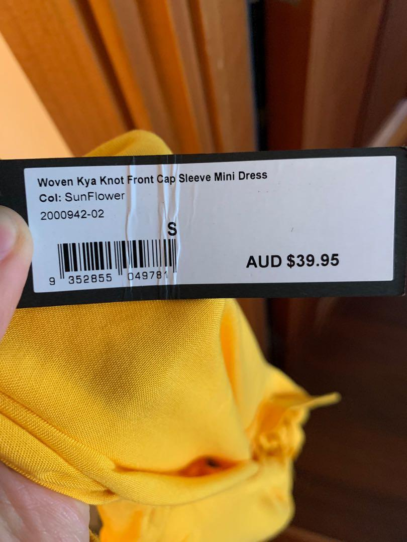Yellow dress with knot at front and cap sleeves - brand new with tags