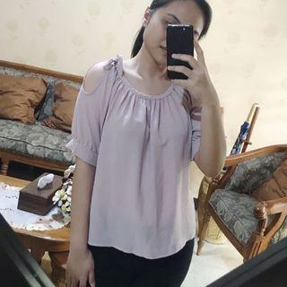 Pink Top Sabrina with Cut Out Sleeve