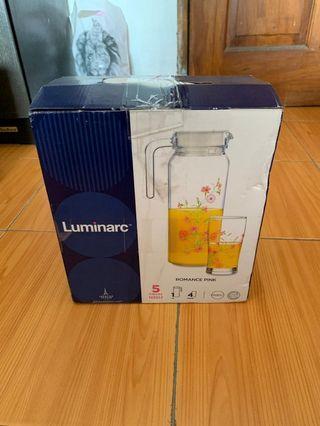 Luminarc Romance Pink 1 Jar + Glass 4 Set