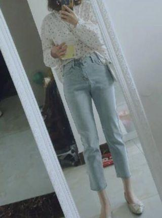 韓系直筒高腰牛仔褲