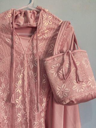 Mukena Zara Silk Baby Pink