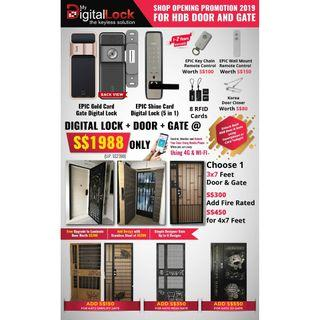 HDB Main Door + Gate + Digital Locks Package Two HP 88164080