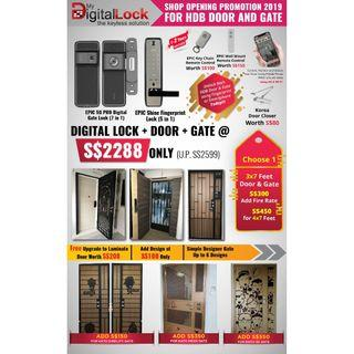 HDB Main Door + Gate + Digital Locks Package 4 HP 88164080