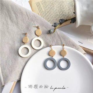 (免運)木質耳夾式耳環-白