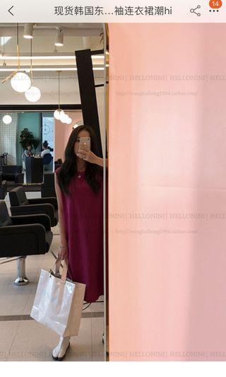 100%正韓超美紫紅色棉質洋裝