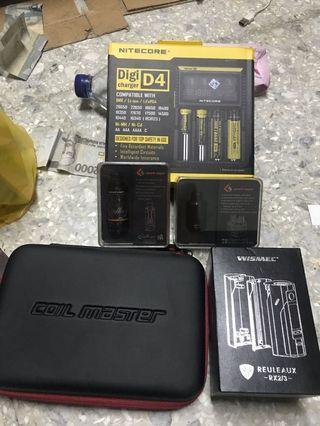 Sell vape second MOD wismec rx 2/3, RTA dan RDA geekvape, charger nitecore, tas coil master