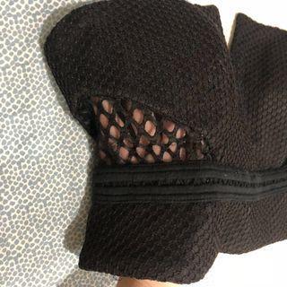 Bardot Black Sheer V Neck Crop Top