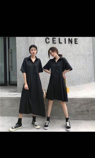 全新 黑色短袖長洋裝 吊牌未剪