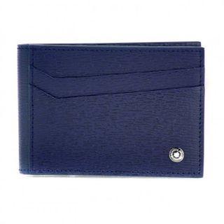 Montblanc 4810 Westside Folded Pocket Card Holder Man Leather Blue 8cc