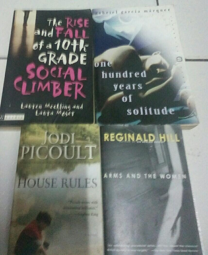 4-pcs assorted books 1.Jodi Picoult  2.Arms&the women 3.One hundred years of Solitude 4.The rise and fall of a 10th grade social climber
