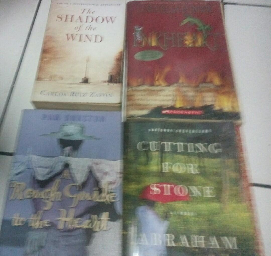 4pcs Books The shadow of wind, -Cutting for stone--Rough Guide to the heart --Inkheart