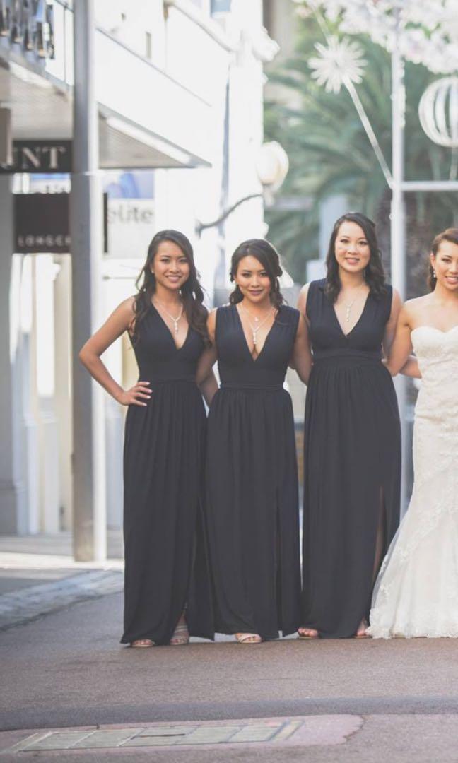 ASOS Navy Blue bridesmaids maxi dresses XS