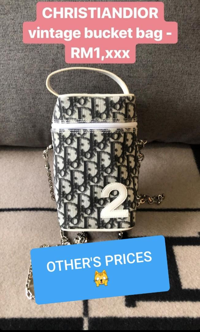 AUTHENTIC DIOR MONOGRAM LOGO DESIGN VANITY BAG -  BLUE COLOR, SILVER HARDWARE - WITH EXTRA HOOKS & DIOR LONG CHAIN STRAP FOR CROSSBODY SLING - CLEAN INTERIOR, OVERALL IN GOOD CONDITION - (DIOR MONOGRAM LOGO BAGS NOW RETAIL OVER RM 10,000+)