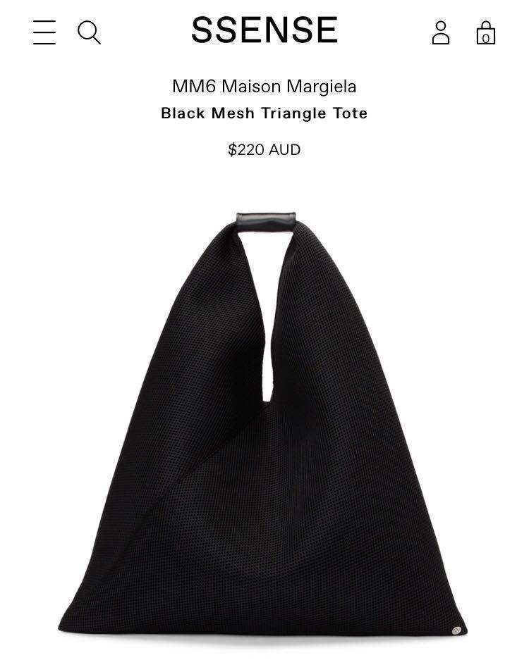 AUTHENTIC MAISON MARGIELA PARIS MM6 BLACK MESH JAPANESE TRIANGLE TOTE BAG