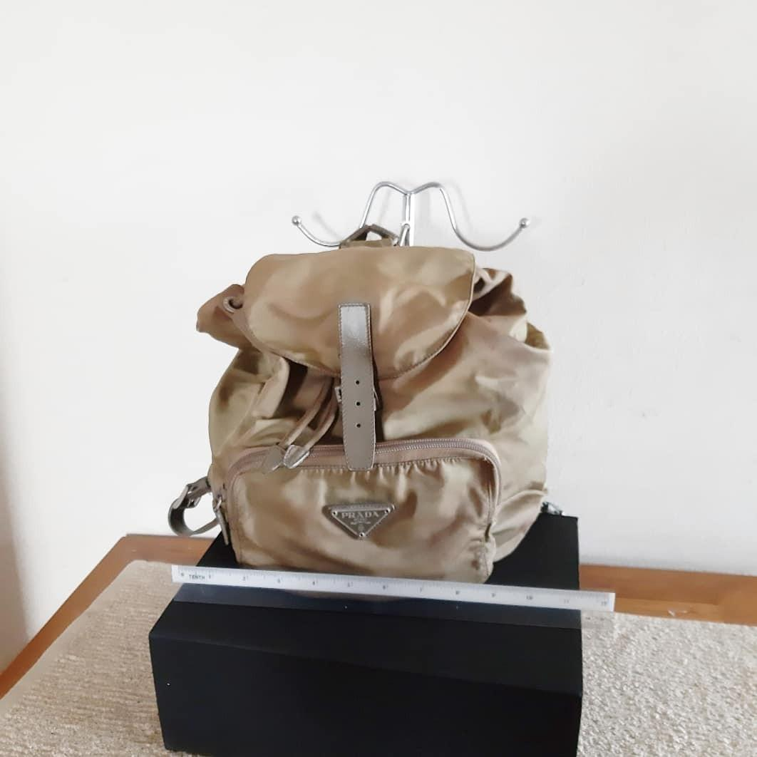 AUTHENTIC PRADA NYLON CANVAS BACKPACK - CHAMPAGNE GOLD COLOR - CLEAN INTERIOR - (PRADA BACKPACKS NOW RETAIL OVER RM 5500+)