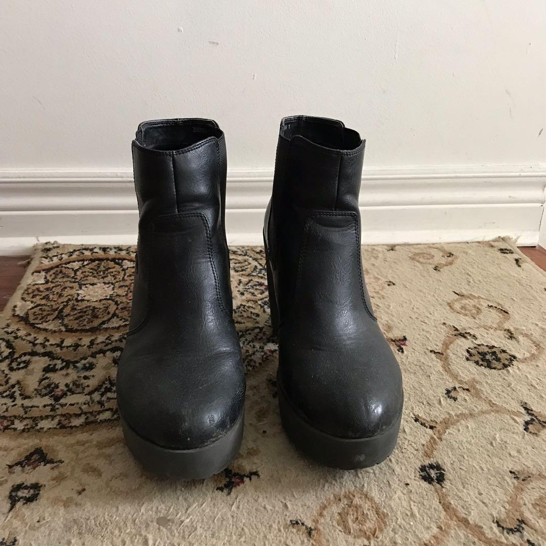 Black block heel booties