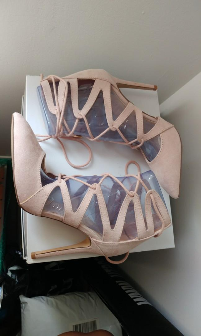 Blush suede lace-up heels from forever 21