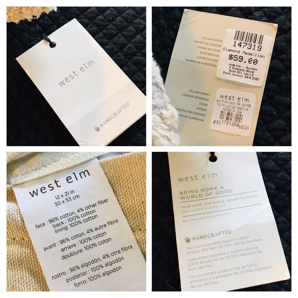 [BNWT] - West Elm Diamond Medallion Cut Pile CUSHION COVERS
