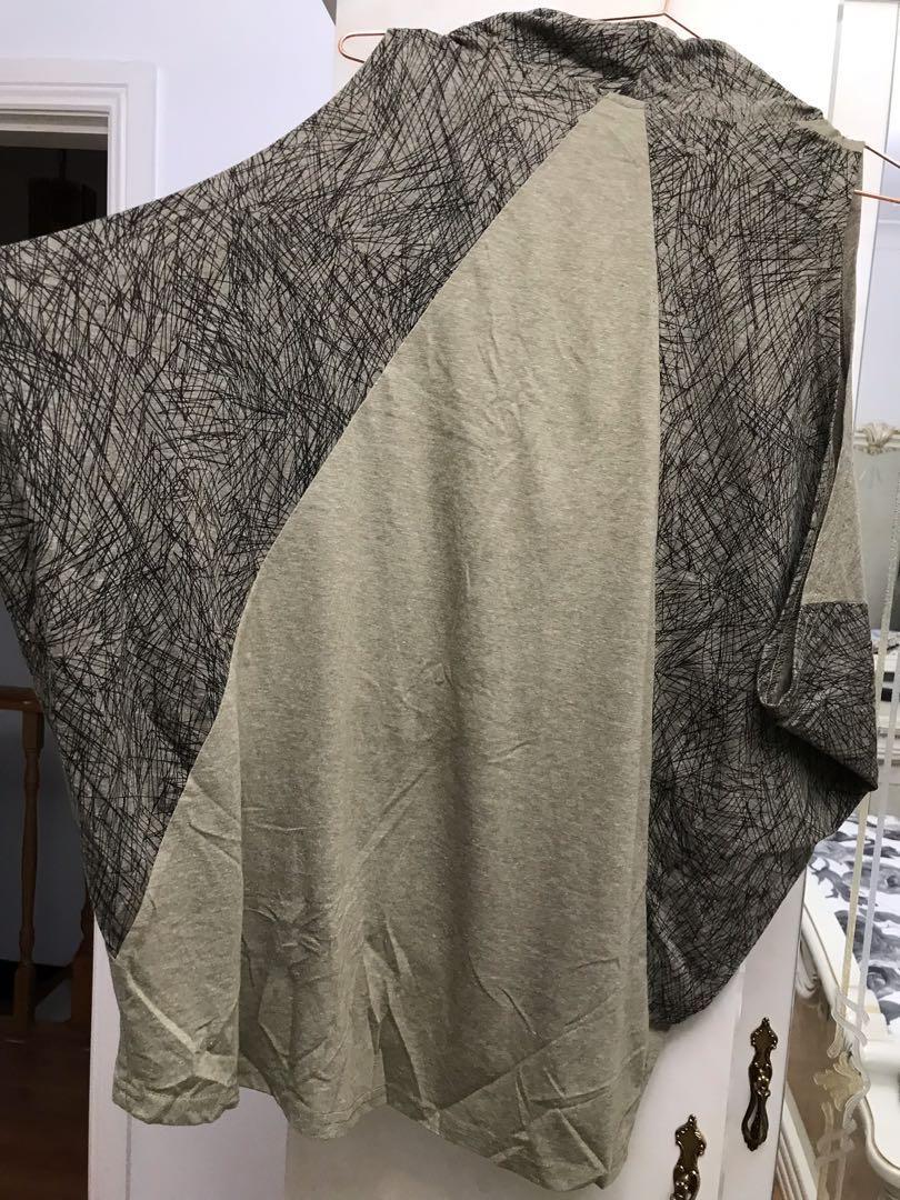 Cotton village cowl neck print knot top size small medium oversized look