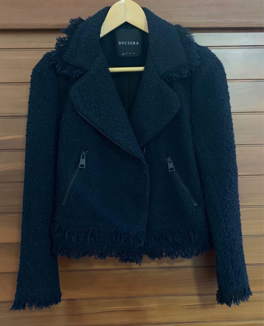Decjuba Biker Jacket Navy Size 8 Tweed Look Near New