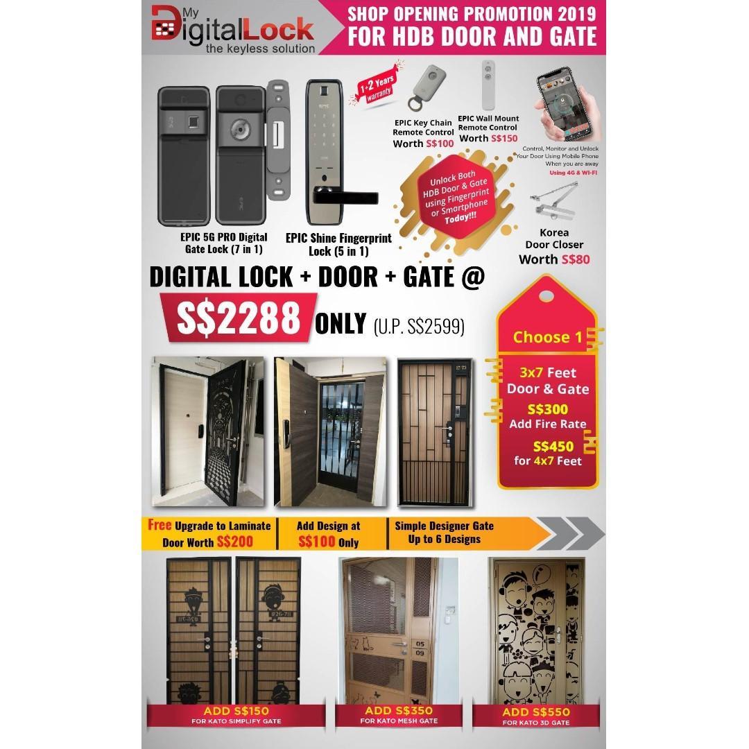 HDB Main Door + Gate + Digital Locks Package 4 HP 88164080