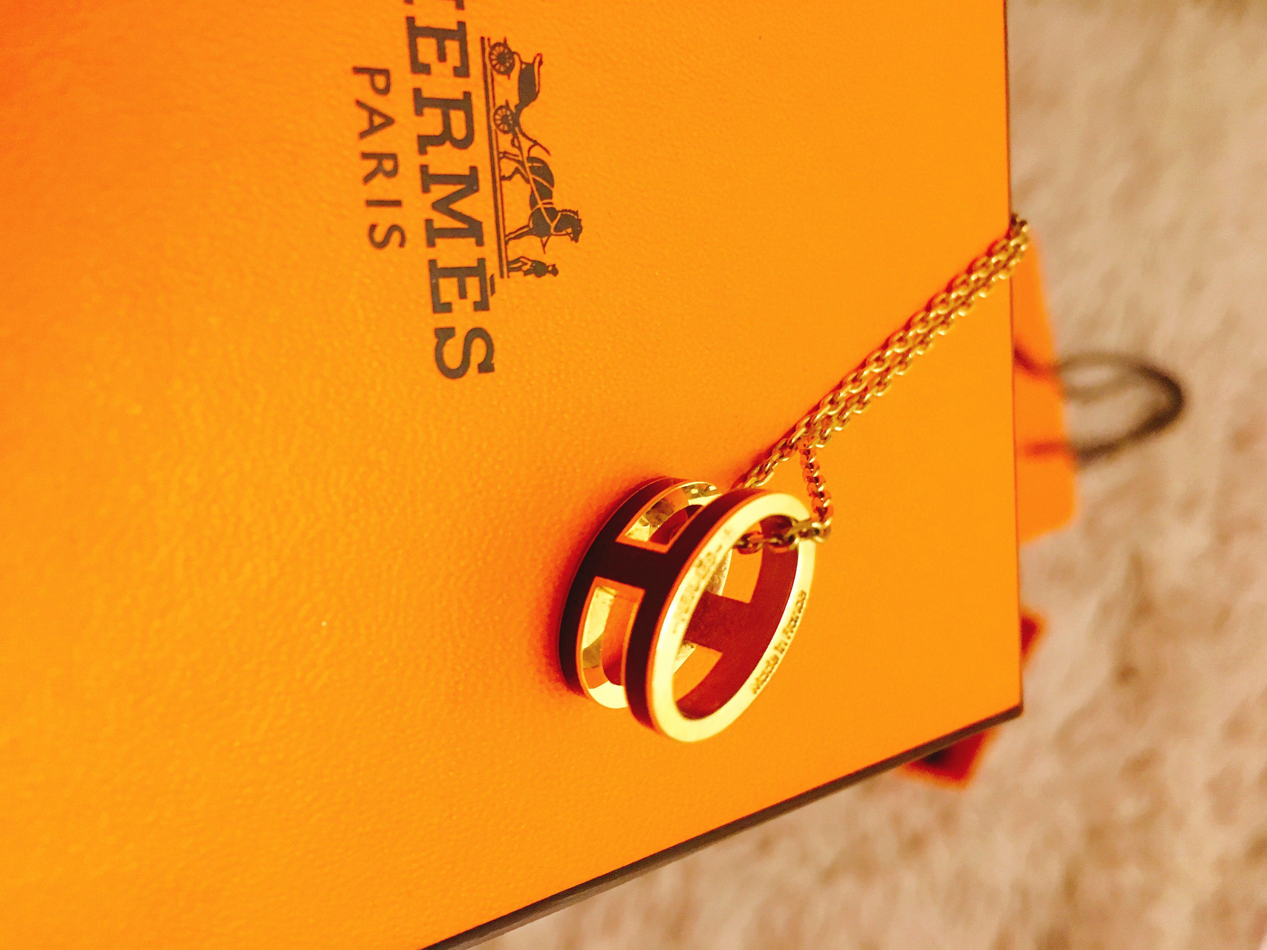 (降)保證真品/Hermès 愛馬仕黑金項鍊 /含購證