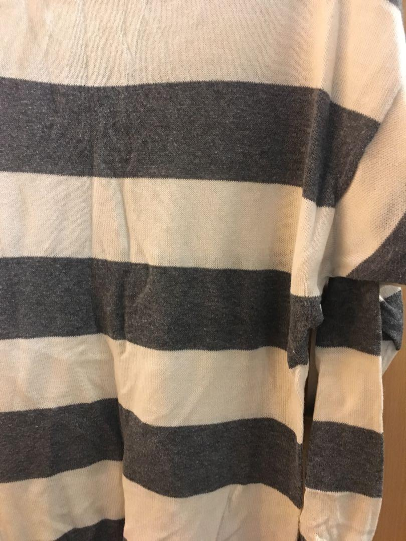 H&M grey and white striped knit dress/top (size 34)