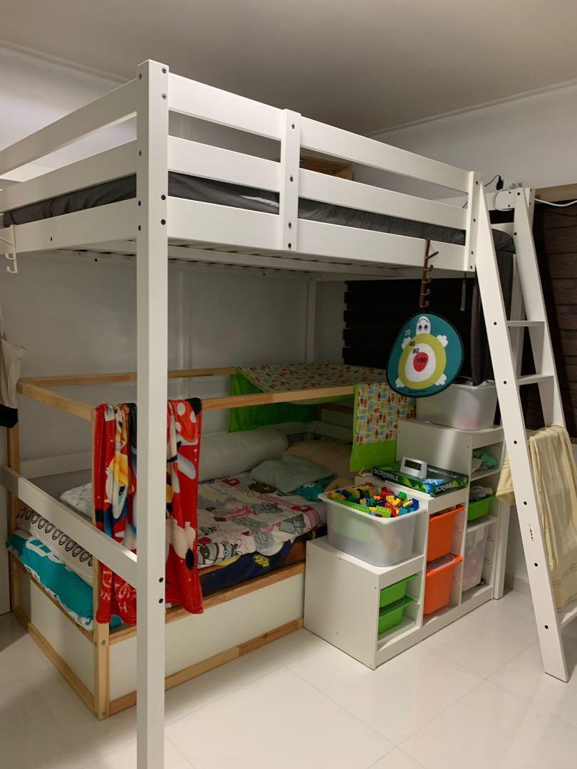 Picture of: Ikea White Loft Bed Frame Furniture Beds Mattresses On Carousell