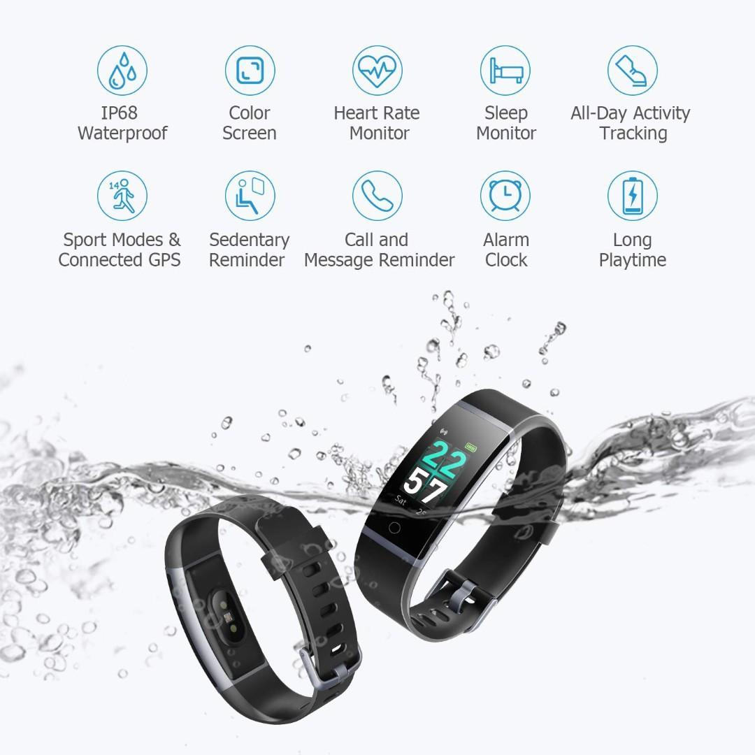 06 LETSCOM Fitness Tracker HR, Color Screen Activity Tracker