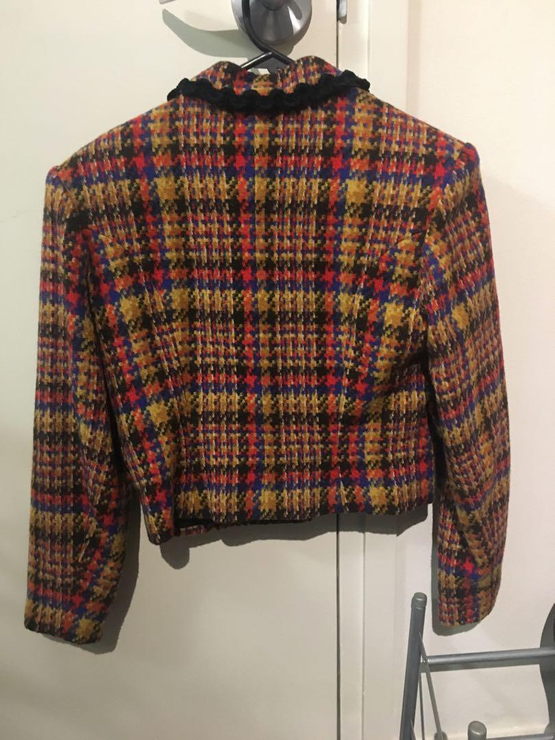 Mustard plaid checkered winter suit jacket (size 36)