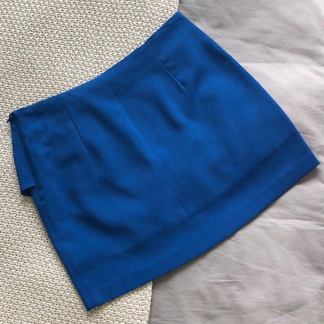 No Brand One Of A Kind Royal Blue Mini Frill Skirt
