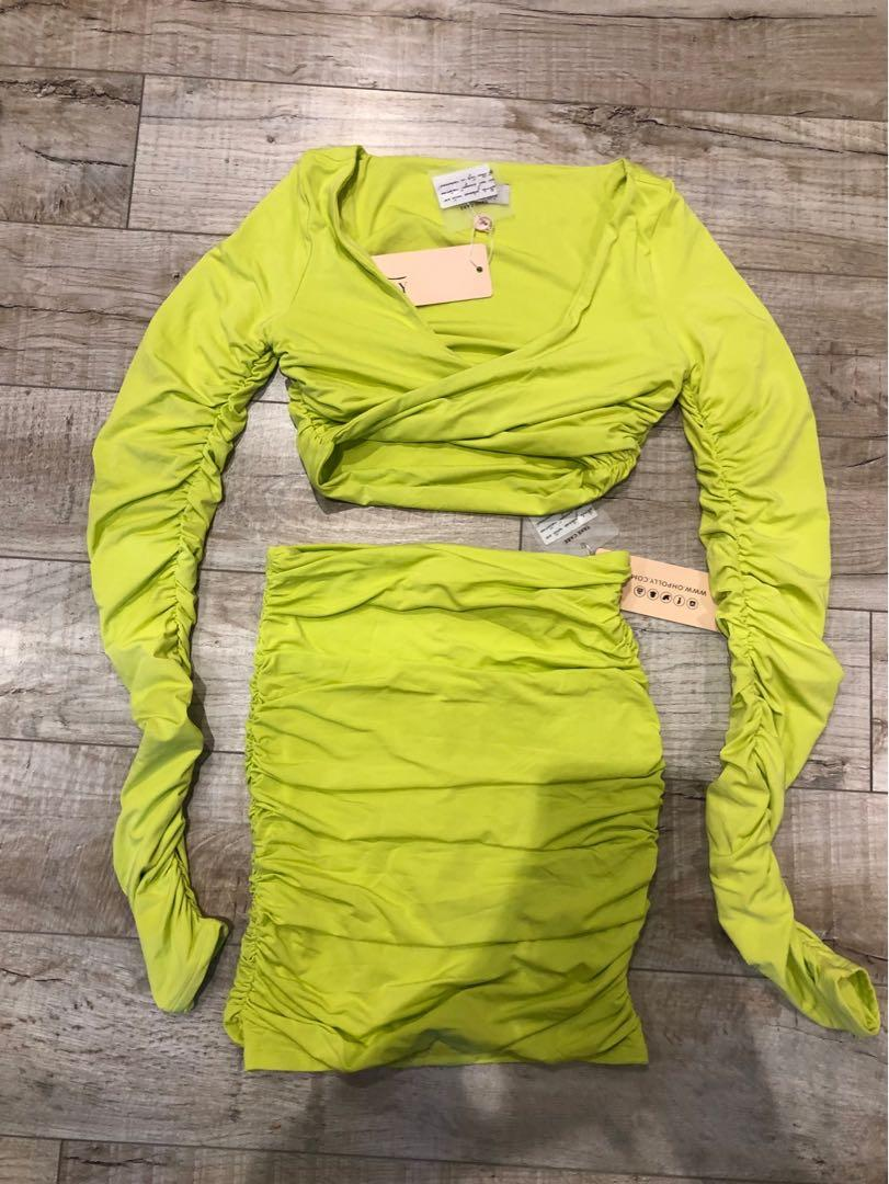 Oh Polly lime green two piece set