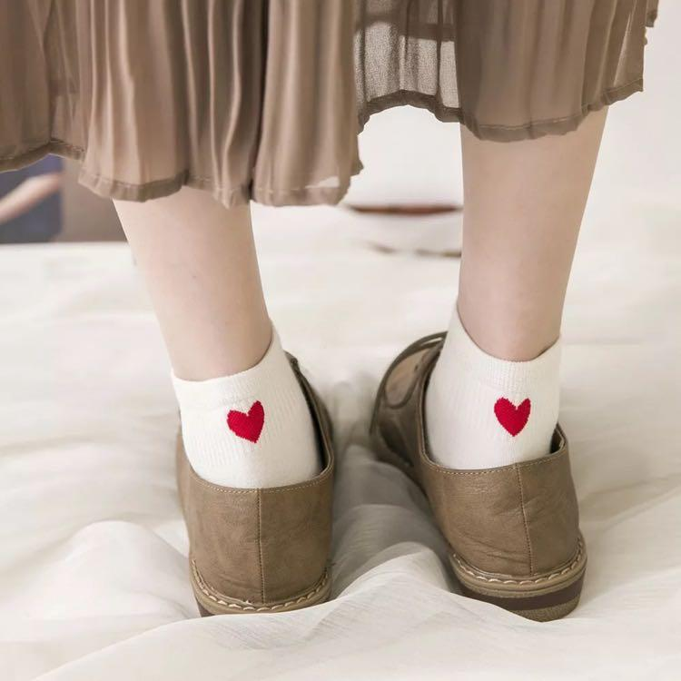 Pastel Printed Heart Ankle Socks