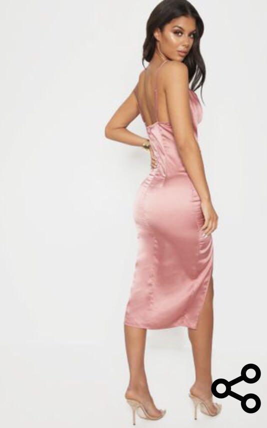 PrettyLittleThing - Rose Strappy Satin Cowl Mini Dress