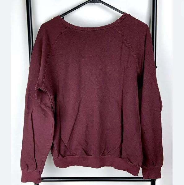 Pull & Bear sz M red maroon graphic impossible jumper sweater winter top shirt
