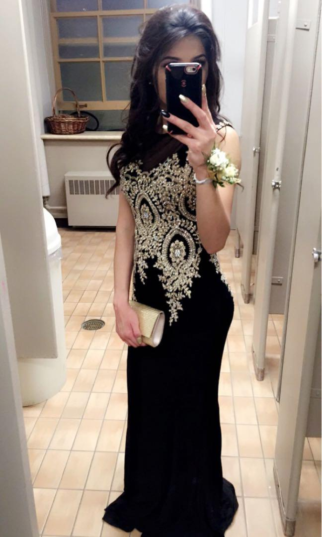 Stunning full length black beaded prom dress for sale