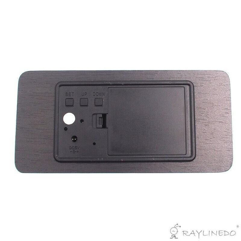 USB/AAA Black Wood White LED Light Wooden Digital Alarm Clock
