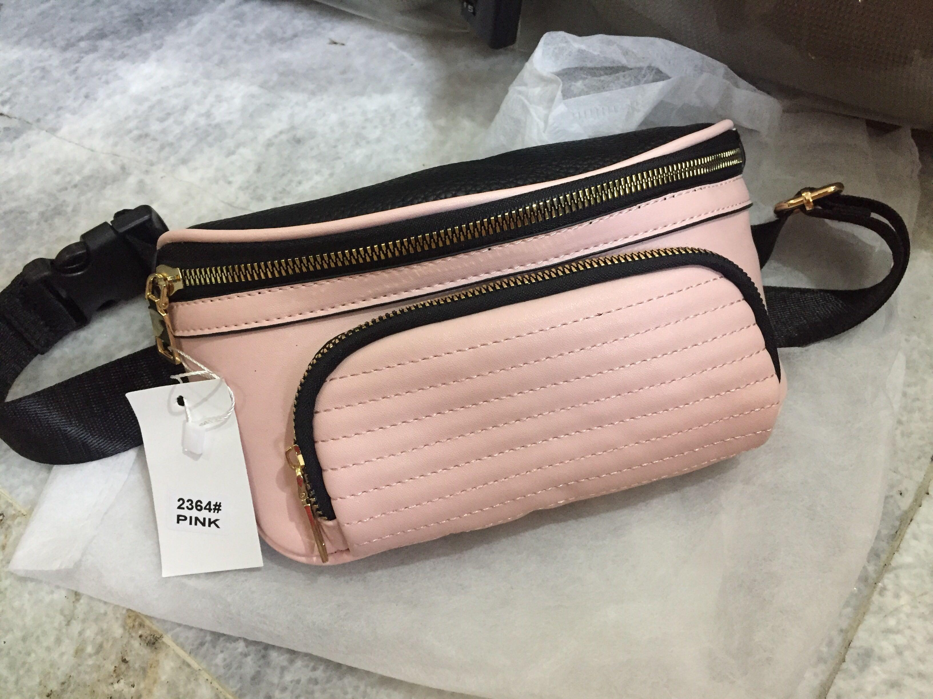 Import Pink Leather Waist bag, Fanny pack, Women Bag, Tas Pinggang