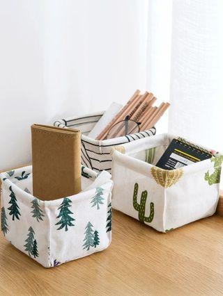 棉麻桌面收納盒辦公桌文具收納筐 梳妝台化妝品雜物整理盒
