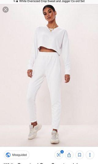 White Misguided Joggers Set