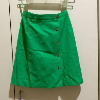 Rok Hijau model highwaist bahan jeans green skirt