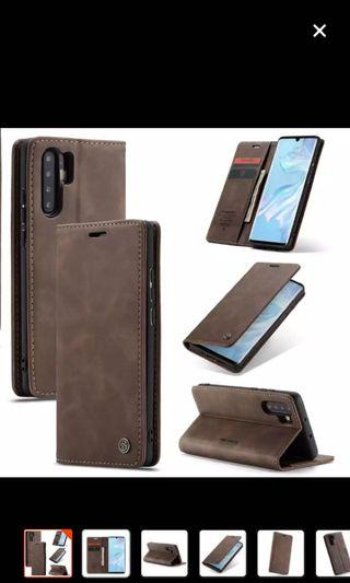 Huawei p30 pro leather flip brown
