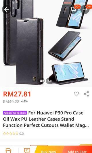 Huawei p30 pro leather flip case black magnetic