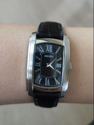 Seiko black leather strap watch