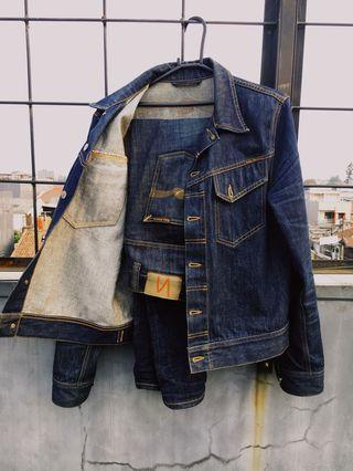 nudie jacket conny dry & nudie jeans thin finn dry twill