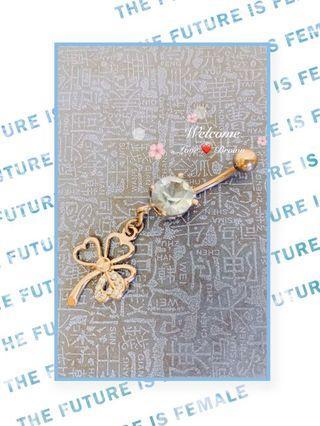 【日本】幸運草垂吊式鈦鋼耳環、肚臍環(二手)醫療鋼 鋯石 抗過敏 水鑽 粉晶 藍鑽 雙珠 施華洛世奇 捕夢網 桃紅 時尚個性