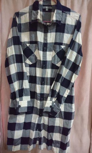 長版棉質格紋襯衫