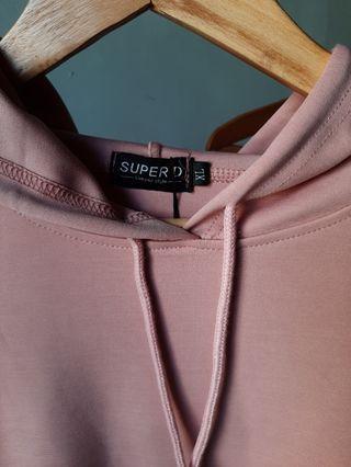 Setelan Hoodie dan Celana Dusty Pink Import
