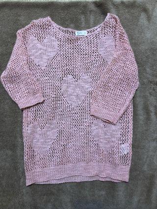 NET 粉色簍空上衣Size:S