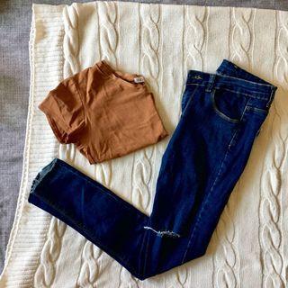 夏日休閒穿搭 V領上衣/高腰破損小腳褲